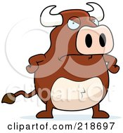 Royalty Free RF Clipart Illustration Of A Mad Bull With His Hands On His Hips