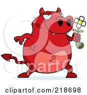 Royalty Free RF Clipart Illustration Of A Romantic Devil Presenting A Daisy For His Love