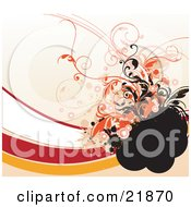Clipart Picture Illustration Of Orange Black And White Circles And Vines Attacked To A Black Area Over Red White And Orange Waves On A Tan Background