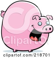 Royalty Free RF Clipart Illustration Of A Chubby Pig Smiling by Cory Thoman