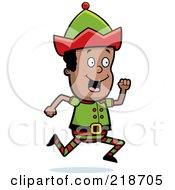 Royalty Free RF Clipart Illustration Of A Black Christmas Elf Boy Running