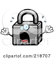 Royalty Free RF Clipart Illustration Of A Panicked Padlock Freaking Out by Cory Thoman