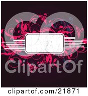 White Text Box With Pink And Blue Leafy Vines And White Lines Over A Deep Red Background
