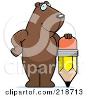 Royalty Free RF Clipart Illustration Of A Big Groundhog Standing By A Pencil by Cory Thoman