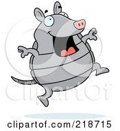 Royalty Free RF Clipart Illustration Of A Happy Gray Armadillo Jumping by Cory Thoman