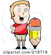 Royalty Free RF Clipart Illustration Of A Happy Blond Boy Standing By A Pencil by Cory Thoman