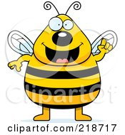 Royalty Free RF Clipart Illustration Of A Plump Bee With An Idea