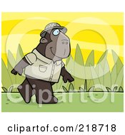 Royalty Free RF Clipart Illustration Of A Jungle Ape Walking In A Uniform by Cory Thoman