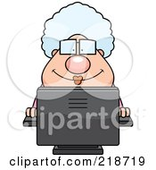 Royalty Free RF Clipart Illustration Of A Plump Granny Using A Desktop Computer by Cory Thoman