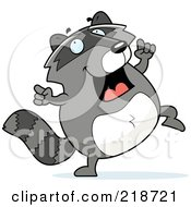 Royalty Free RF Clipart Illustration Of A Plump Raccoon Doing A Happy Dance