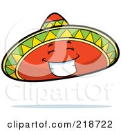 Royalty Free RF Clipart Illustration Of A Happy Sombrero Hat Character Smiling