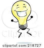 Royalty Free RF Clipart Illustration Of A Happy Light Bulb Smiling And Jumping by Cory Thoman
