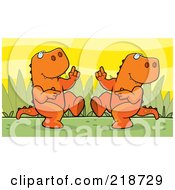 Royalty Free RF Clipart Illustration Of An Orange T Rex Couple Dancing
