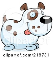Royalty Free RF Clipart Illustration Of A Chubby Spotted Dog Sitting