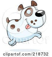 Royalty Free RF Clipart Illustration Of A Chubby Spotted Dog Jumping