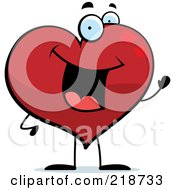 Royalty Free RF Clipart Illustration Of A Happy Heart Character Waving by Cory Thoman