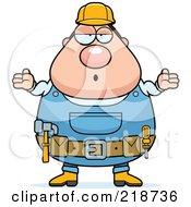 Plump Builder Man Shrugging
