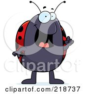 Royalty Free RF Clipart Illustration Of A Smart Ladybug With An Idea by Cory Thoman
