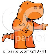 Royalty Free RF Clipart Illustration Of An Orange T Rex Laughing And Pointing