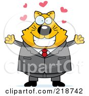 Royalty Free RF Clipart Illustration Of A Plump Business Cat Ready For A Hug by Cory Thoman