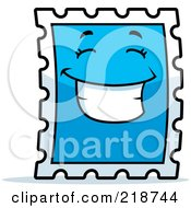 Royalty Free RF Clipart Illustration Of A Happy Blue Postage Stamp Character Smiling by Cory Thoman