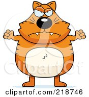 Royalty Free RF Clipart Illustration Of A Plump Orange Cat Waving His Fists