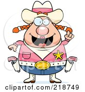 Royalty Free RF Clipart Illustration Of A Plump Cowgirl With An Idea