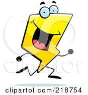 Royalty Free RF Clipart Illustration Of A Happy Lightning Character Running by Cory Thoman