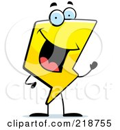 Royalty Free RF Clipart Illustration Of A Happy Lightning Character Waving by Cory Thoman