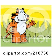 Friendly Tiger Standing And Waving On A Grassy Background by Cory Thoman