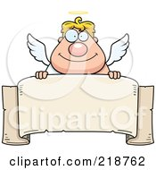 Royalty Free RF Clipart Illustration Of A Blond Male Angel Looking Over A Blank Banner