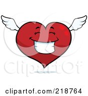 Royalty Free RF Clipart Illustration Of A Happy Winged Heart Character Smiling by Cory Thoman