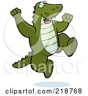 Royalty Free RF Clipart Illustration Of A Happy Alligator Jumping by Cory Thoman