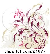 Clipart Picture Illustration Of Pink Flowers Blooming On A Dark Red And Green Vine Over A Grunge Background On White