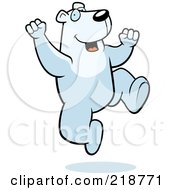 Royalty Free RF Clipart Illustration Of A Happy Polar Bear Jumping by Cory Thoman
