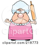 Royalty Free RF Clipart Illustration Of A Plump Granny Waving A Rolling Pin In Anger