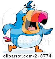 Royalty Free RF Clipart Illustration Of A Plump Toucan Walking by Cory Thoman