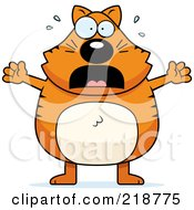 Royalty Free RF Clipart Illustration Of A Plump Orange Cat Stressing