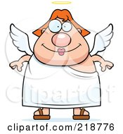 Royalty Free RF Clipart Illustration Of A Red Haired Female Angel