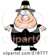 Royalty Free RF Clipart Illustration Of A Plump Male Pilgrim by Cory Thoman