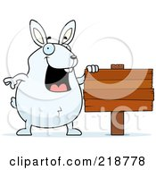 Royalty Free RF Clipart Illustration Of A Plump White Rabbit Standing By A Blank Wood Sign