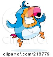 Royalty Free RF Clipart Illustration Of A Plump Toucan Jumping And Smiling by Cory Thoman