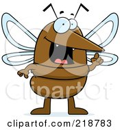 Royalty Free RF Clipart Illustration Of A Smart Mosquito With An Idea by Cory Thoman