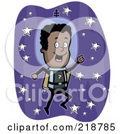 Royalty Free RF Clipart Illustration Of A Black Astronaut Using A Jet Pack by Cory Thoman