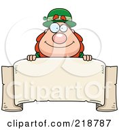Plump Leprechaun Looking Over A Blank Banner
