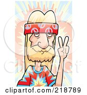 Royalty Free RF Clipart Illustration Of A Blond Hippie Man Gesturing The Peace Symbol by Cory Thoman
