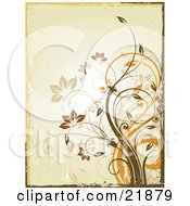 Clipart Picture Illustration Of A Tan Background Of Brown And Orange Vines With Flowers And A Worn Texture