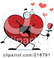 Royalty Free RF Clipart Illustration Of A Romantic Heart Character Giving A Rose