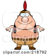 Royalty Free RF Clipart Illustration Of A Plump Native American Man by Cory Thoman