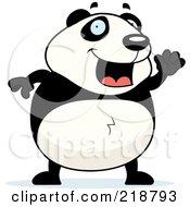 Royalty Free RF Clipart Illustration Of A Happy Panda Waving by Cory Thoman
